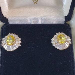 Topaz Cushion Cut Crystal Earrings in Gold Setting